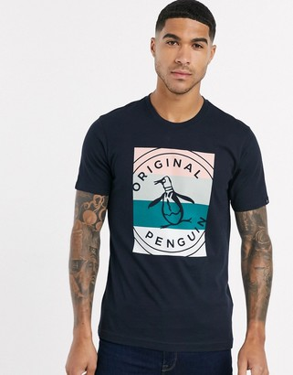 Original Penguin stripy box logo t-shirt in navy