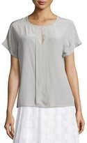 Peserico Short-Sleeve Placket-Front Silk Top