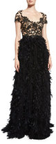 Marchesa Crystal-Embellished Bodice Gown W/Feather Skirt, Black