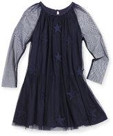 Stella McCartney Misty Tulle Star-Patch Dress, Navy, Size 4-14