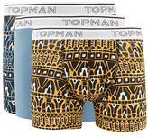 Topman Orange And Blue Print Trunks 3 Pack