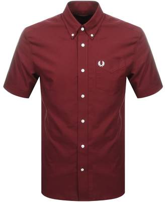 Fred Perry Short Sleeved Oxford Shirt Burgundy