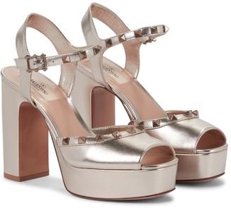 Valentino Rockstud leather platform sandals