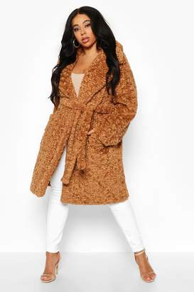 boohoo Plus Teddy Faux Fur Belted Mid Length Coat