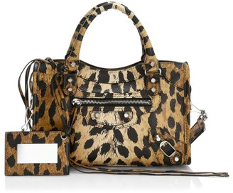 Balenciaga Mini City Leopard-Print Leather Satchel