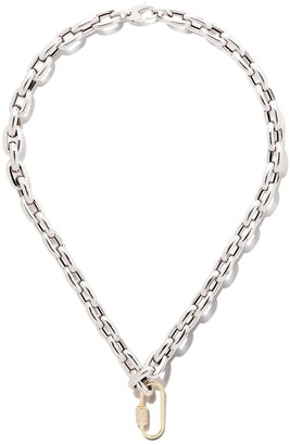 """As 29 18kt Yellow Gold Diamond Medium Oval Carabiner And An 18k White Gold 30"""" Large Links Chain Necklace"""