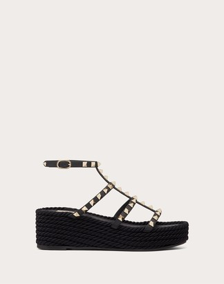 Valentino Rockstud Wedge Sandal With Calfskin Straps 55 Mm Women Black 100% Pelle Di Vitello - Bos Taurus 37