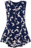 Quiz Navy And Cream Butterfly Sleeveless Top