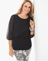 Chico's Knit Ruffle-Front Top