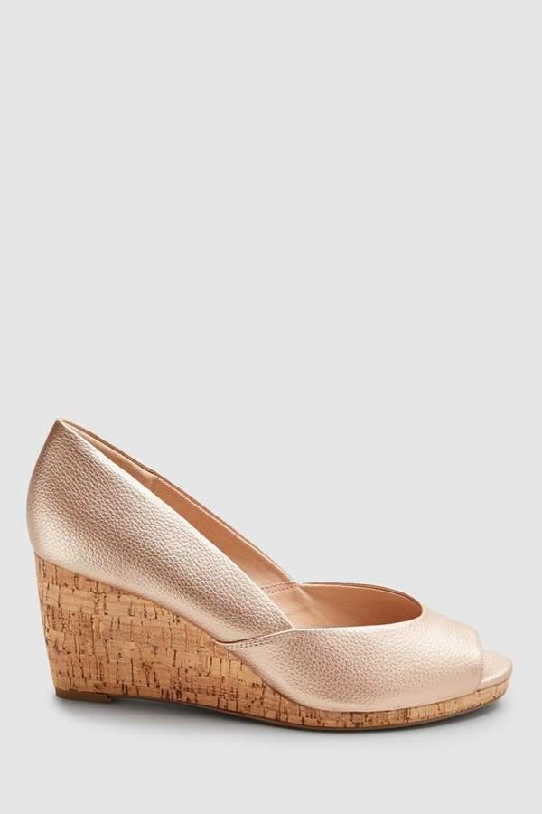 0287ad1e10a Womens Rose Gold Peep Toe Cork Wedges - Metallic