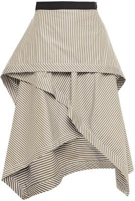 J.W.Anderson Draped Striped Cotton-poplin Skirt