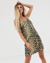 Asos Design DESIGN mini cami slip dress in leopard print