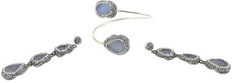 One Kings Lane Vintage Druzy Crystal Silver Bracelet & Earrings - Owl's Roost Antiques