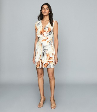 Reiss DIONE PRINT LEAF-PRINT MINI DRESS Ivory Print