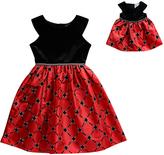 Dollie & Me Black & Red Windowpane A-Line Dress & Doll Dress - Girls
