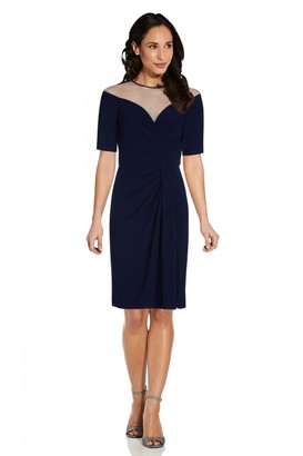Adrianna Papell Jersey Drapped Cocktail Dress In Midnight