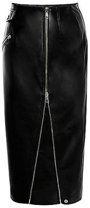 Alexander McQueen Leather Zip Midi Skirt
