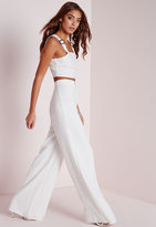 Missguided Premium Crepe Wide Leg Pants White