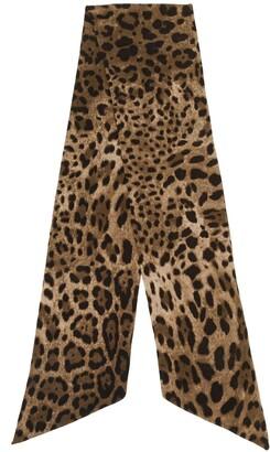 Dolce & Gabbana Animal Print Slim Scarf