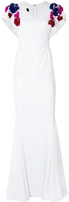 Talbot Runhof Flower Embellished Gown