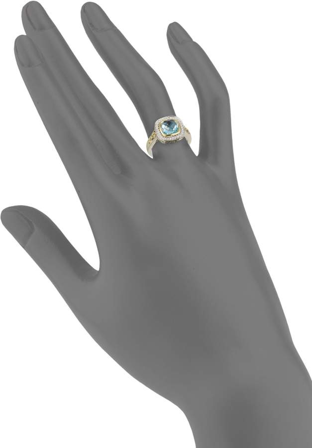 Charles Krypell Sterling Silver, Two-Tone, Blue Topaz & Diamond Ring