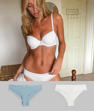Dorina Lila 2 pack organic cotton hipster briefs in ivory and sage