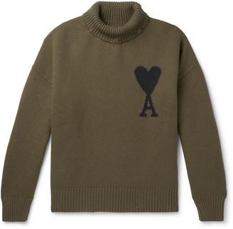 Ami Logo-Intarsia Merino Wool Rollneck Sweater