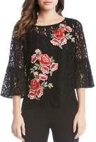Karen Kane Floral Applique Bell Sleeve Lace Top