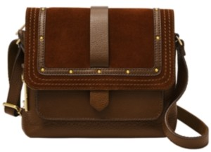 Fossil Women's Kinley Leather Crossbody with Suede Flap Studs