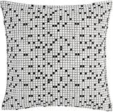 Lisa Perry Crossword Satin Pillow-BLACK