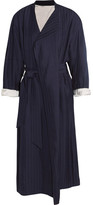 Acne Studios Oceane Belted Striped Twill Coat - Midnight blue