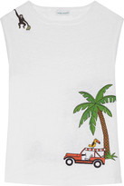Mira Mikati Embroidered Printed Slub Linen Tank - White