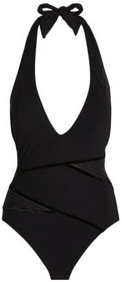 Gottex Ruched V-Neck Swimsuit