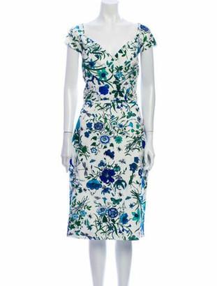 Samantha Sung Floral Print Midi Length Dress White