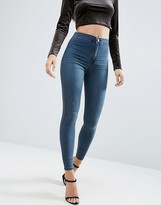 Asos Rivington Denim High Waist Jeggings In Claire Darkwash
