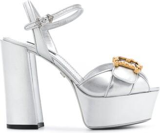 Dolce & Gabbana 80mm Keira Baroque logo wedge sandals