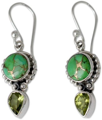 Novica Artisan Crafted Sterling Peridot & Turquoise Earrings