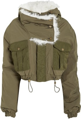 Monse Shearling-Trimmed Bomber Jacket