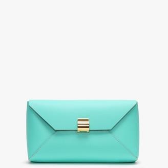 Dimoni Turquoise Leather Envelope Clutch Bag
