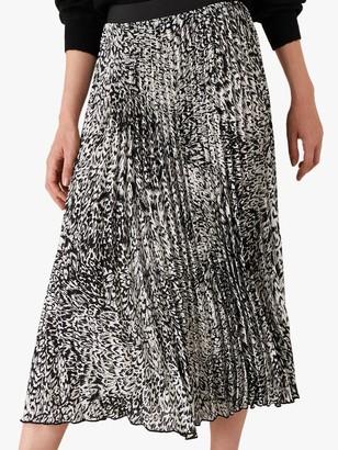 Monsoon Animal Print Skirt, Black