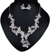 Ella & Elly Women's Earrings White - Crystal & Silvertone Butterfly Earrings & Statement Necklace Set
