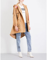 Moschino Ladies Brown Concealed Zip Box-Print Cotton-Felt Parka Coat