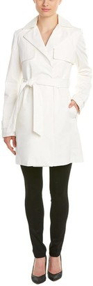 T Tahari Women's Milly Single Breasted Trench with Linen/Lace
