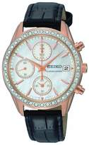 Seiko Leather White Mother-of-Pearl Dial Women's Watch #SNDY14
