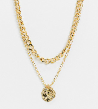 Reclaimed Vintage inspired 14k multirow necklace with coin pendant