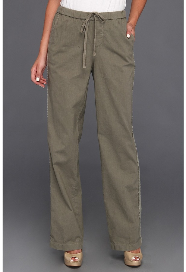 DKNY Linen Lounge Pant w/ Lace (Light Military) - Apparel
