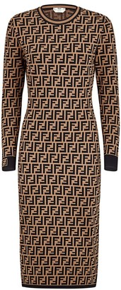 Fendi FF Logo Jacquard Sweater Dress
