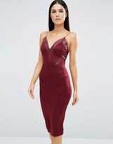 AX Paris V Neck Midi Cami Dress With Pu Panels