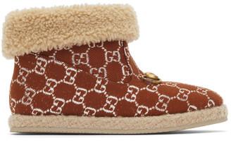 Gucci Brown Lame GG Horsebit Boots