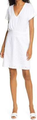 Veronica Beard Jiya Cotton Eyelet Popover Dress